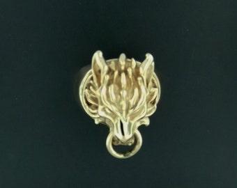 Final Fantasy 7 Fenrir Wolf Ring in Antique Bronze
