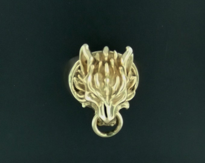 Final Fantasy 7 Fenrir Wolf Ring in Antique Bronze