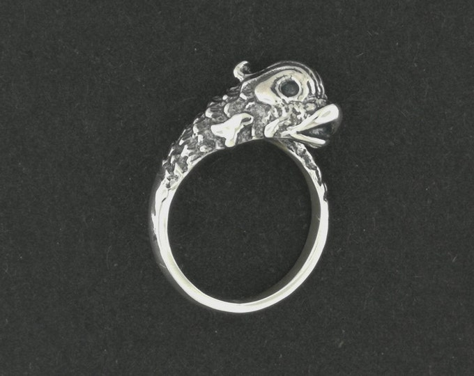 Vintage Stylized Koi Ring in Sterling Silver or Antique Bronze