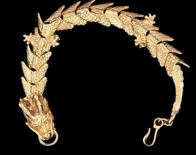 Mens Chinese Dragon Bracelet in Antique Bronze
