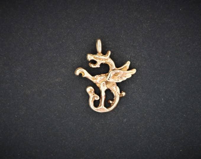 Dragon Charm in Antique Bronze