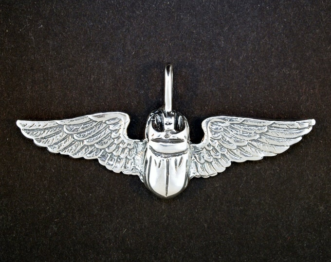Egyptian Winged Scarab Pendant in Sterling Silver