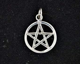 Small Two Sided Pentacle Pendant in Sterling Silver or Antique Bronze