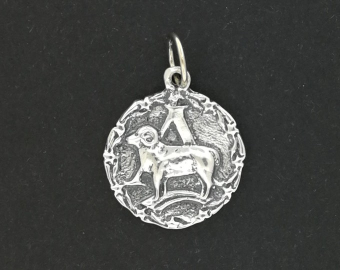 Zodiac Medallion Aries in Sterling Silver and Antique Bronze