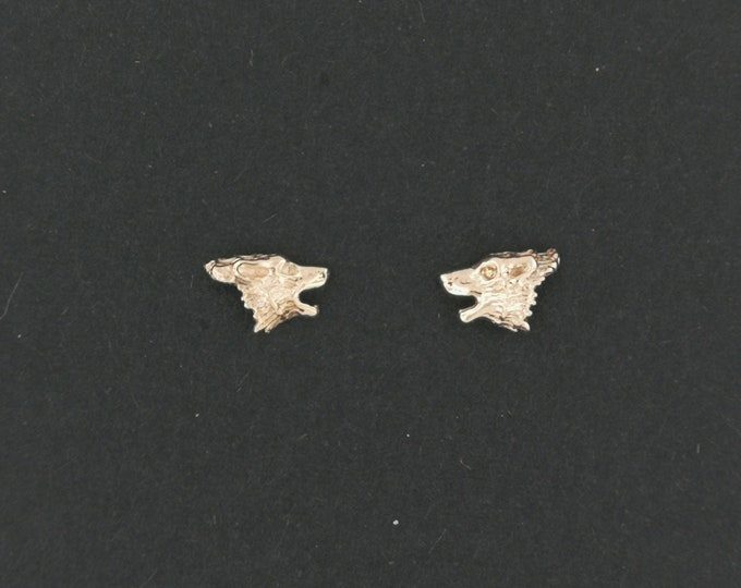 Gold Howling Wolves Earrings made to order