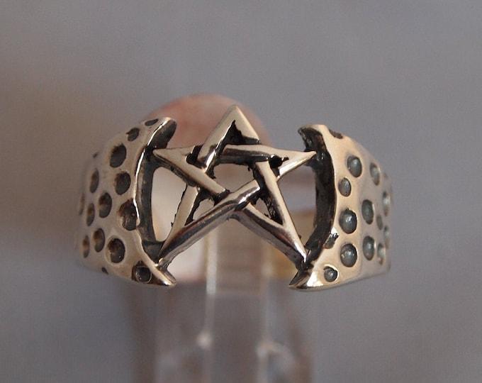 Mens Large Pentagram Ring in Sterling Silver or Antique Bronze
