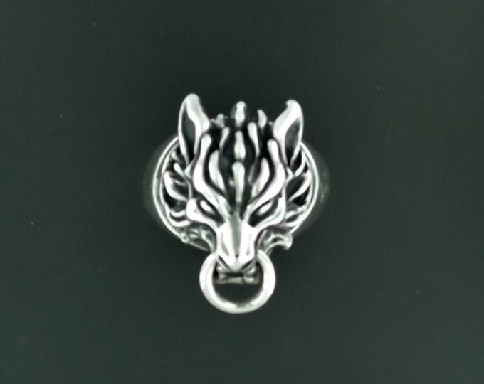 Final Fantasy 7 Fenrir Wolf Ring in Sterling Silver