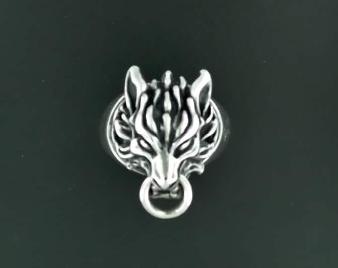 Handmade Final Fantasy 7 Fenrir Wolf Ring in Sterling Silver or Antique Bronze