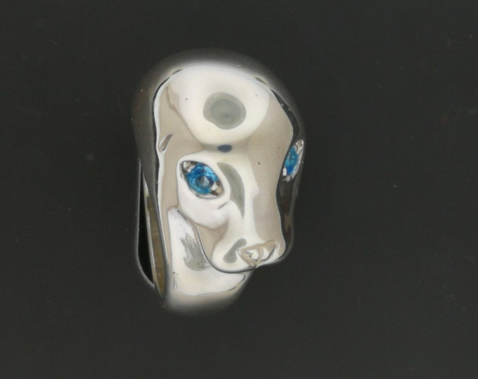 Seal Head Ring with Gemstone Eyes in Sterling Silver