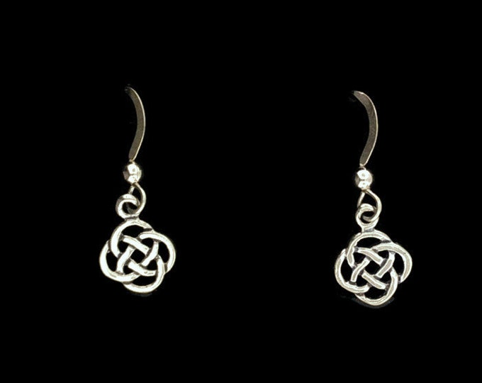 Small Endless Knotwork Dangle Earrings in Sterling Silver