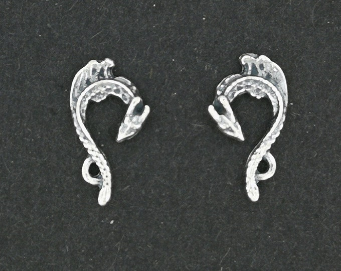 Tiny Dragon Stud Earrings in Sterling Silver