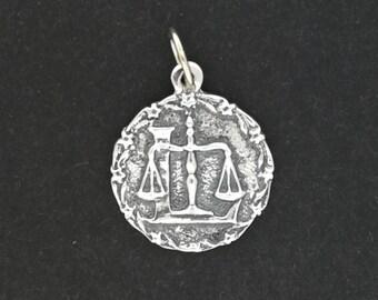 Zodiac Medallion Libra in Sterling Silver or Antique Bronze