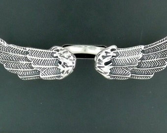 Angel Wings Ring in Sterling Silver or Antique Bronze