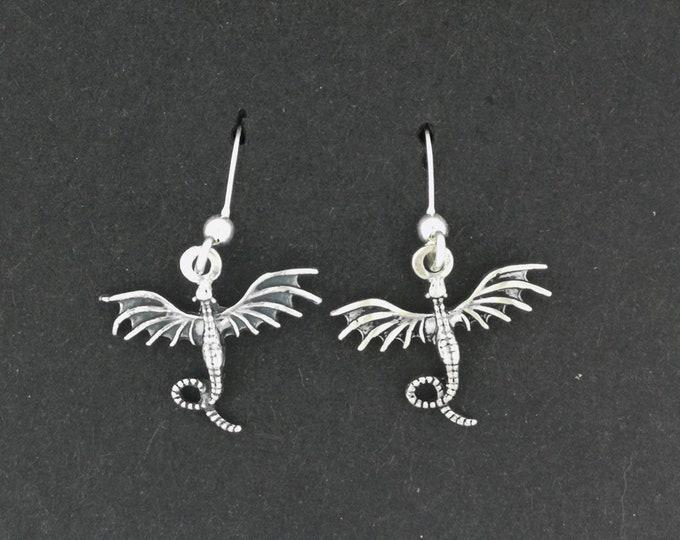 Sterling Silver Flying Dragon Dangle Earrings
