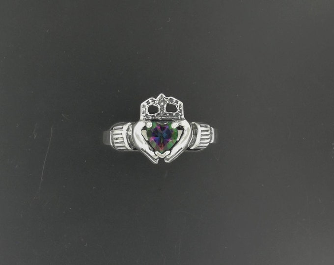 Sterling Silver Claddagh Ring with Gemstone Heart