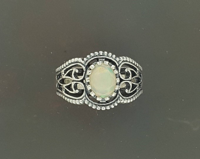 Filigree Ring with Ethiopian Opal in Sterling Silver