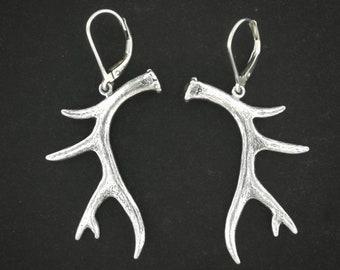 Deer Antler Earrings in Sterling Silver