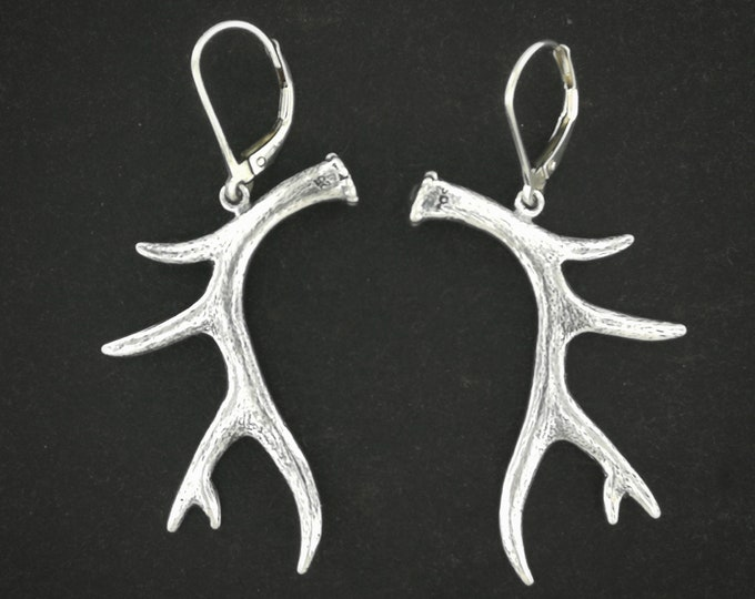 Deer Antler Earrings in Sterling Silver