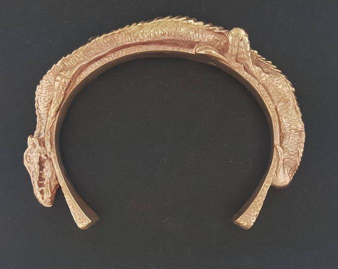 Handmade Dragon Cuff Bracelet in Antique Bronze