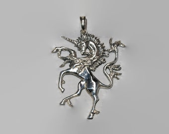 Renaissance Unicorn Pendant in Sterling Silver