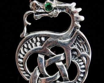 Celtic Dragon Pendant in Sterling Silver with Birthstone
