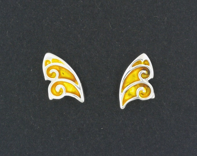 Fairy Butterfly Wing Stud Earrings in Sterling Silver