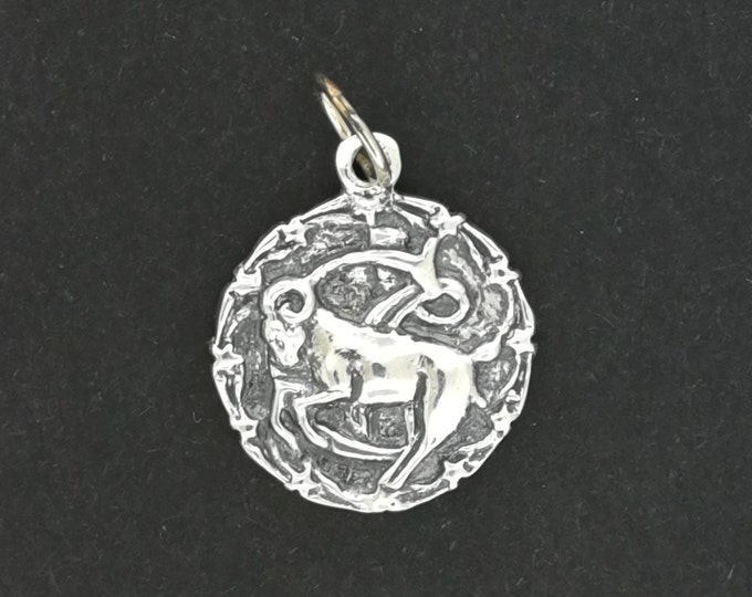 Zodiac Medallion Capricorn in Sterling Silver or Antique Bronze