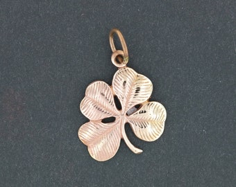 Large Four-Leaf Clover Pendant in Antique Bronze