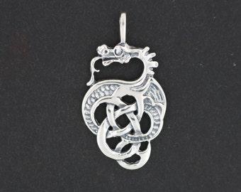 Celtic Knotwork Dragon Pendant