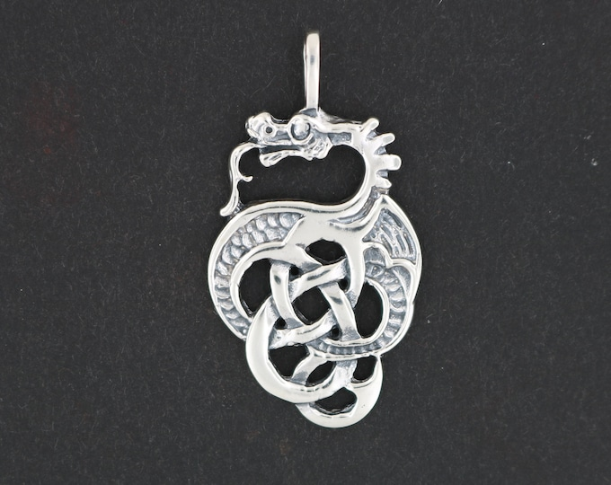 Celtic Knotwork Dragon Pendant