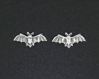 Bat Stud Earrings in Sterling Silver
