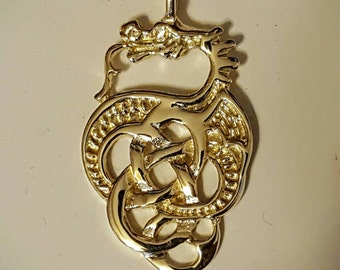 Gold Celtic Knotwork Dragon Pendant Made to Order