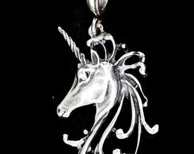 Unicorn Head Pendant in Sterling Silver