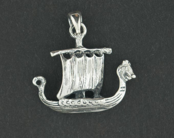 Viking Long Ship Pendant in Sterling Silver
