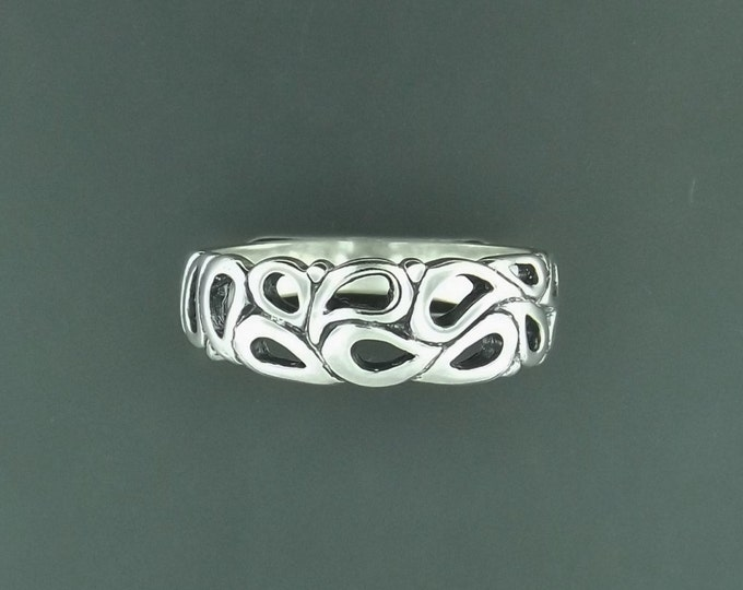 1950s Style Wedding Band in Sterling Silver or Antique Bronze
