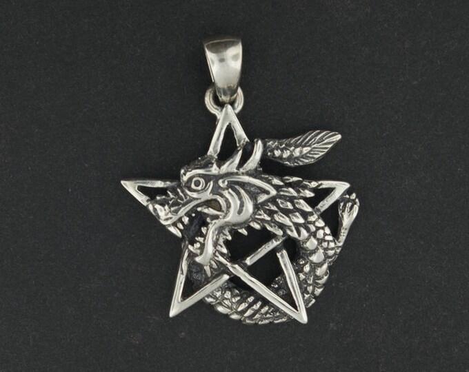 Dragon Pentagram Pendant in Sterling Silver or Antique Bronze