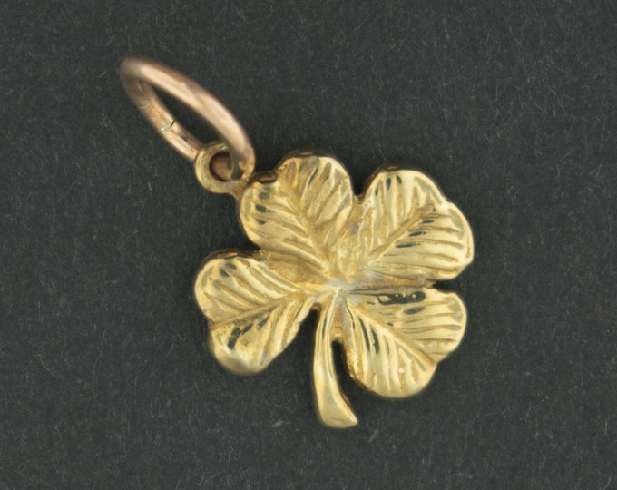 Small Four-Leaf Clover Pendant in Antique Bronze