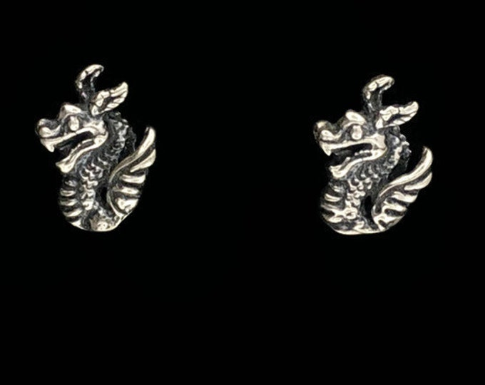 Sterling Silver Dragon Stud Earrings