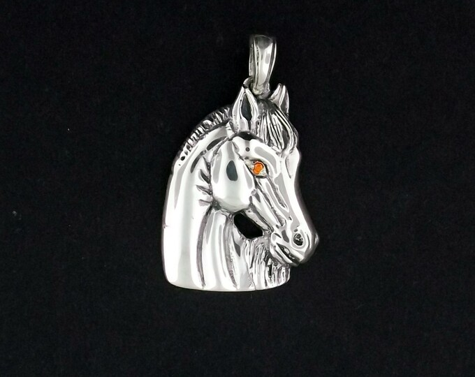 Horse Head Medallion in Silver with Cubic Zirconia