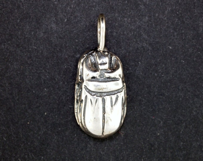 3D Egyptian Scarab Pendant in Sterling Silver or Antique Bronze