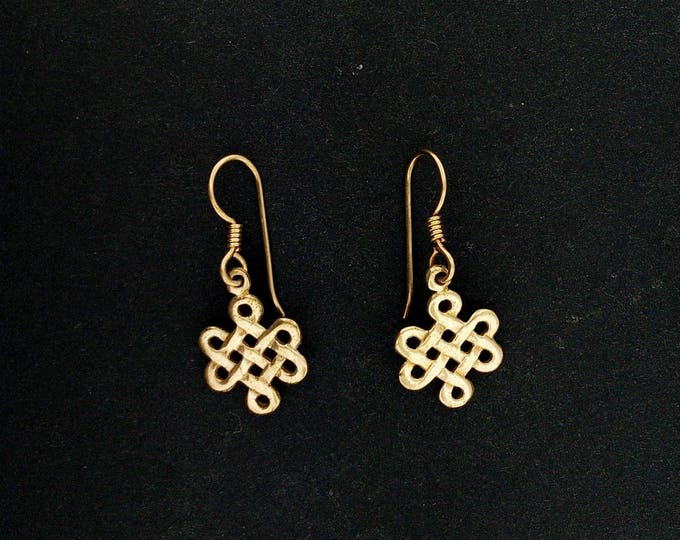 Small Endless knot earrings in Antique bronze