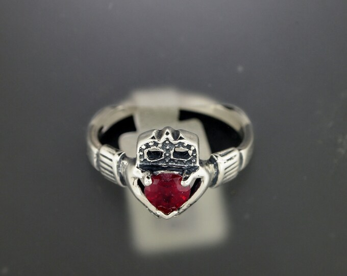 Sterling Silver Claddagh Ring with Lab Grown Ruby Heart
