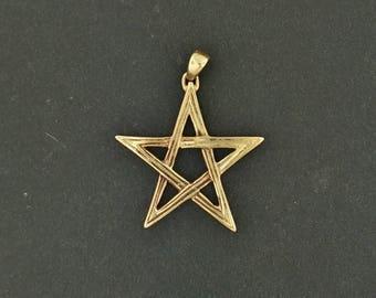 Lined Pentagram Pendant in Antique Bronze