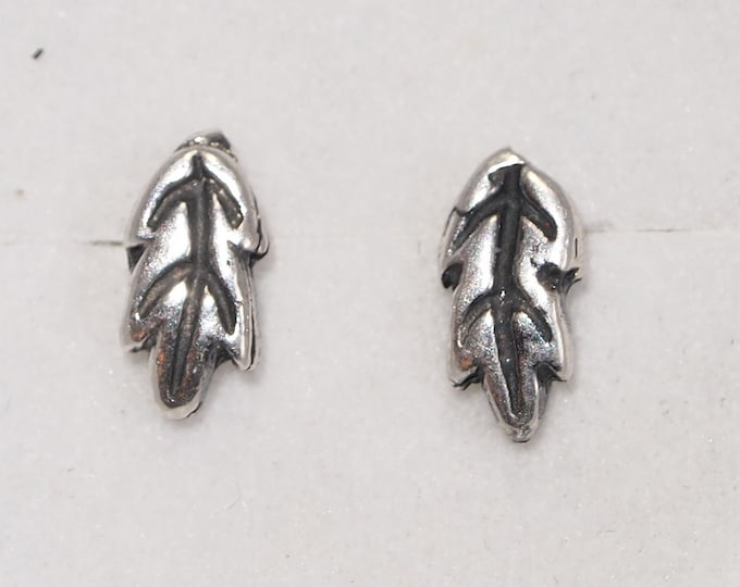 Sterling Silver Oak Leaves Studs