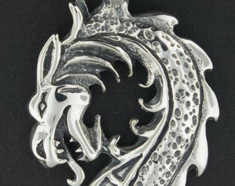 Dragon Head Pendant in Sterling Silver