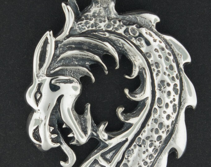 Dragon Head Pendant in Sterling Silver