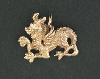 Gold Medieval Dragon Pendant Made to Order