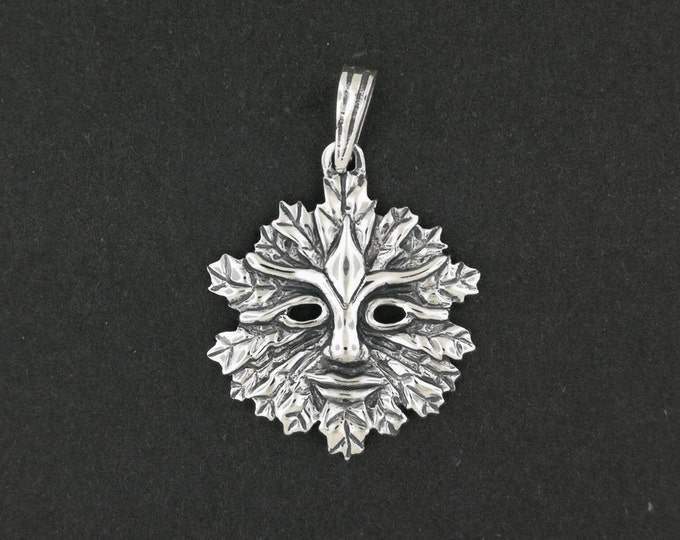 Green Man Pendant With Open Eyes in Sterling Silver or Antique Bronze