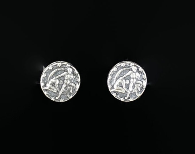 Gold Zodiac Stud Earrings Gemini Made to Order