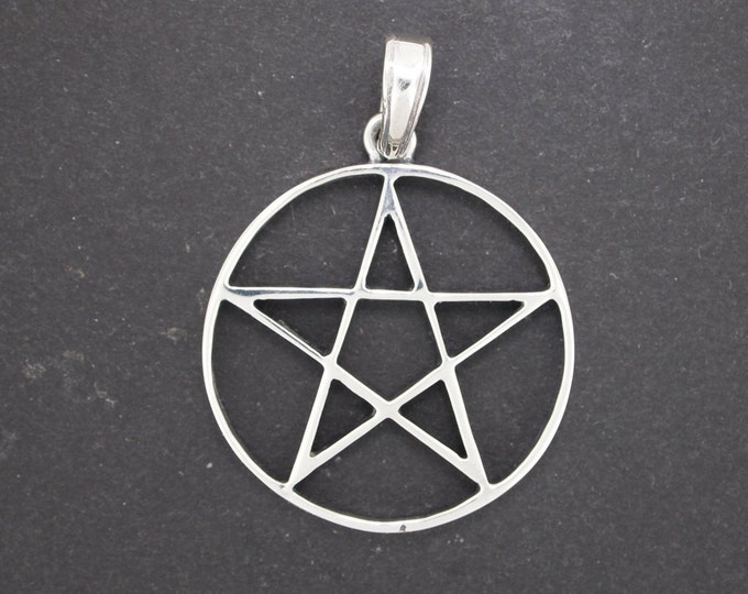 Large Pentacle Pendant in Sterling Silver or Antique Bronze